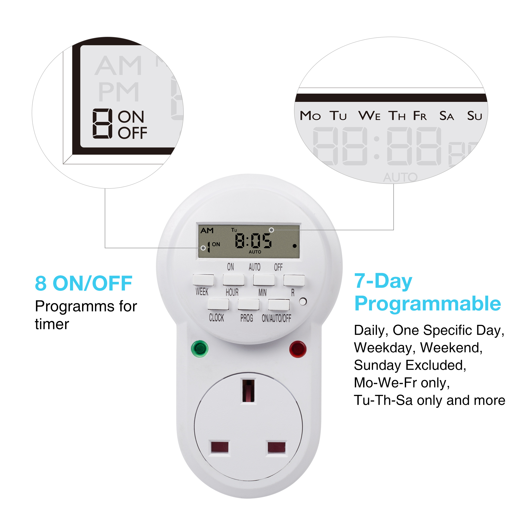 HBN Programmable Electronic Plug-in Timer Plug with LCD Display 24 Hours, 1 Pack
