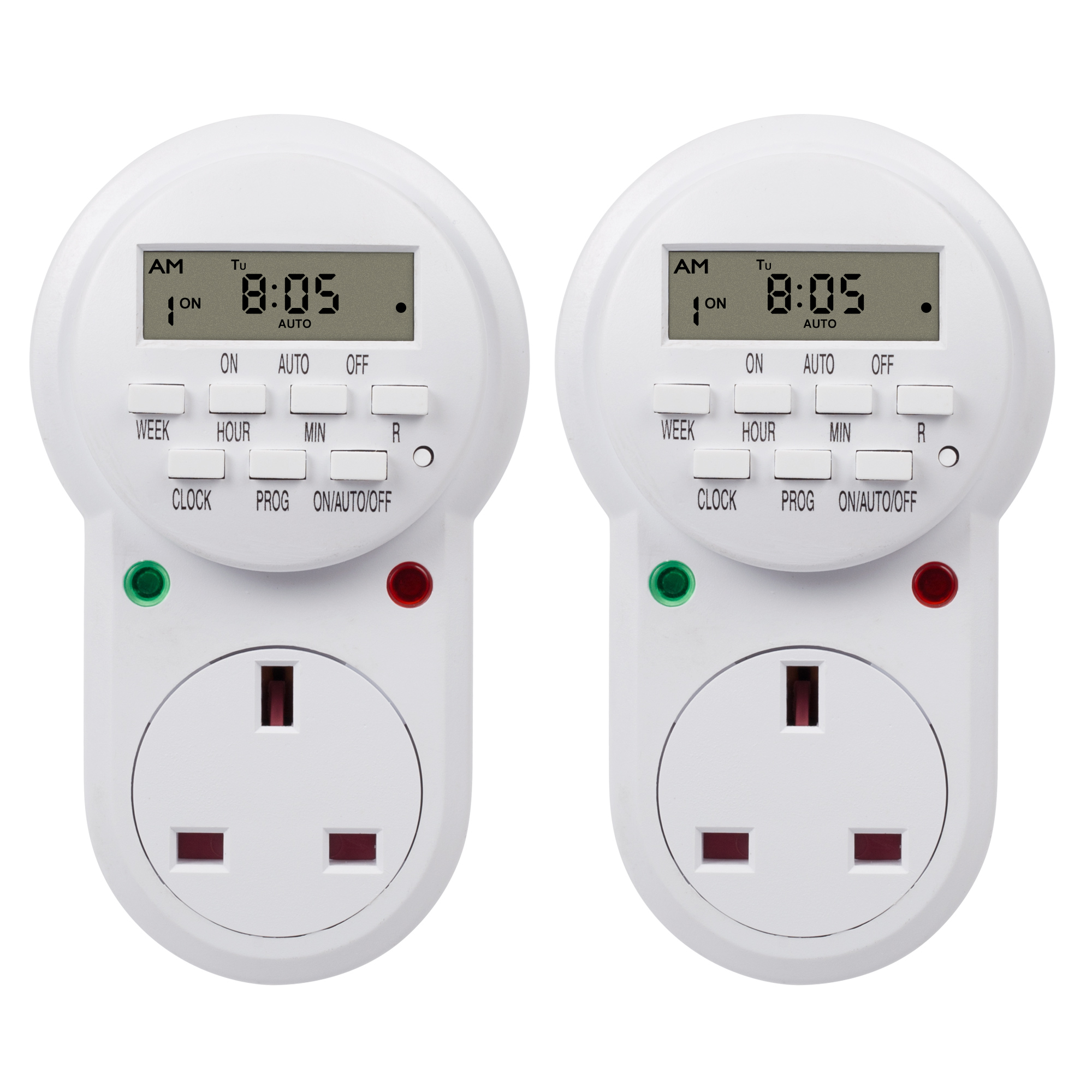 HBN Programmable Electronic Plug-in Timer Plug with LCD Display 24 Hours, 2 Pack